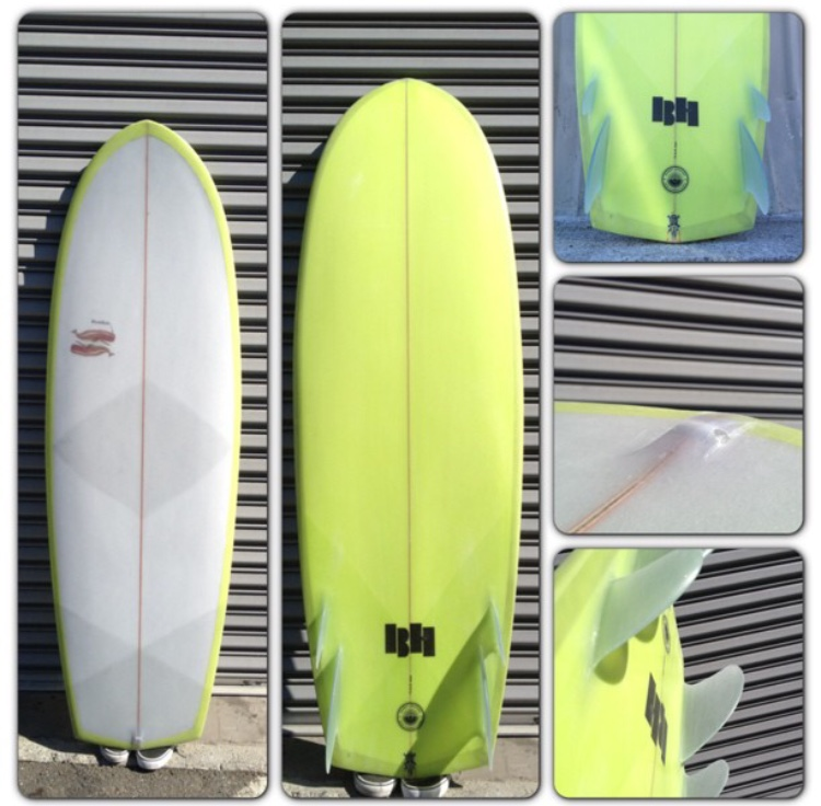 5'7 twinzer Glass on hand shaped fins