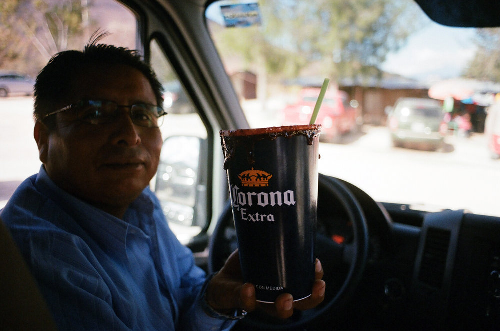 Our driver and his michalada