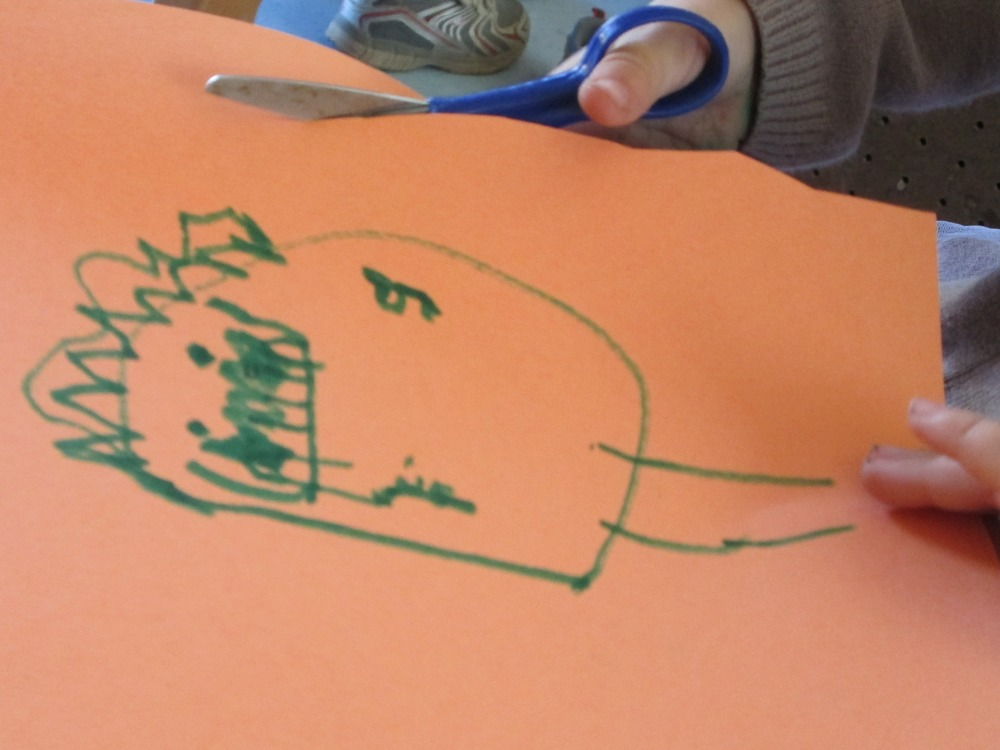 The next day, the kids tried making their own versions of the Big Green Monster book.