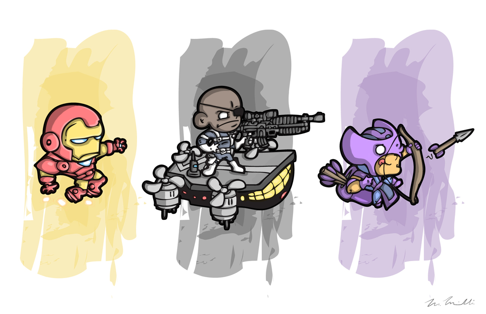 Iron Man, Nick Fury, Hawkeye