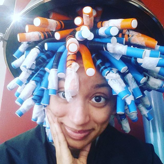 When you have too much #hair and use up almost all of the tiny rods 😂! Jeez... I can't fit under the dryer!  #rodset #curls #blackhair #thestruggle