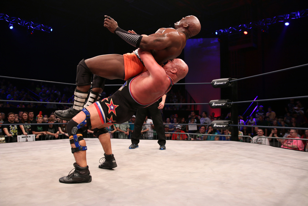 Kurt Angle delivers a German suplex to Bobby Lashley - Photo courtesy of Lee South and TNA Entertainment LLC.jpg