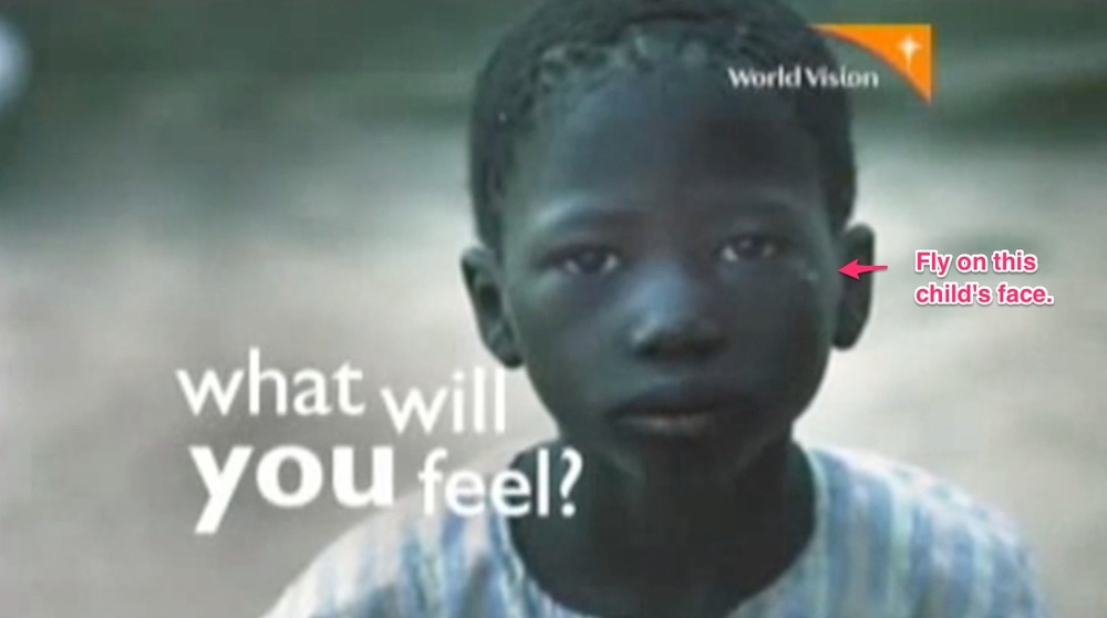 "The definition of ""fly on child"" poverty imagery. Many of World Vision's commercials available on YouTube carry paternalistic themes bordering on objectification"