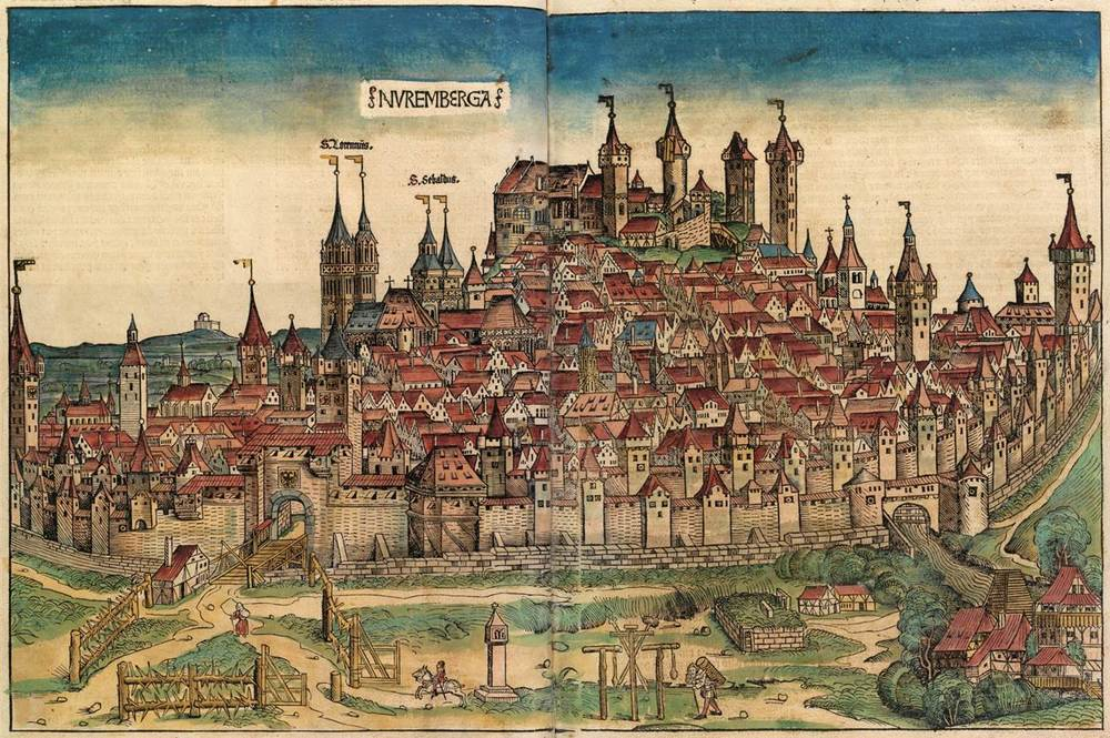 Figure 1: Nuremberg cityscape from the  Nuremberg Chronicle , hand-colored woodcut, 1493, folios 99 verso - 100 recto