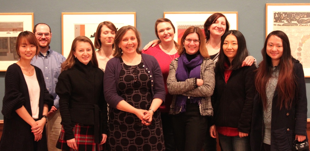 Spring Semester Curatorial Seminar, from left to right:  Haeyoon Chang, Harrison Schley, Daria Melnikova, Katelyn Hobbs, Julie Nelson Davis, Kendra Grimmett, Shelley Langdale, Anna Moblard-Meier, Jenny Lu, and Olivia Pei