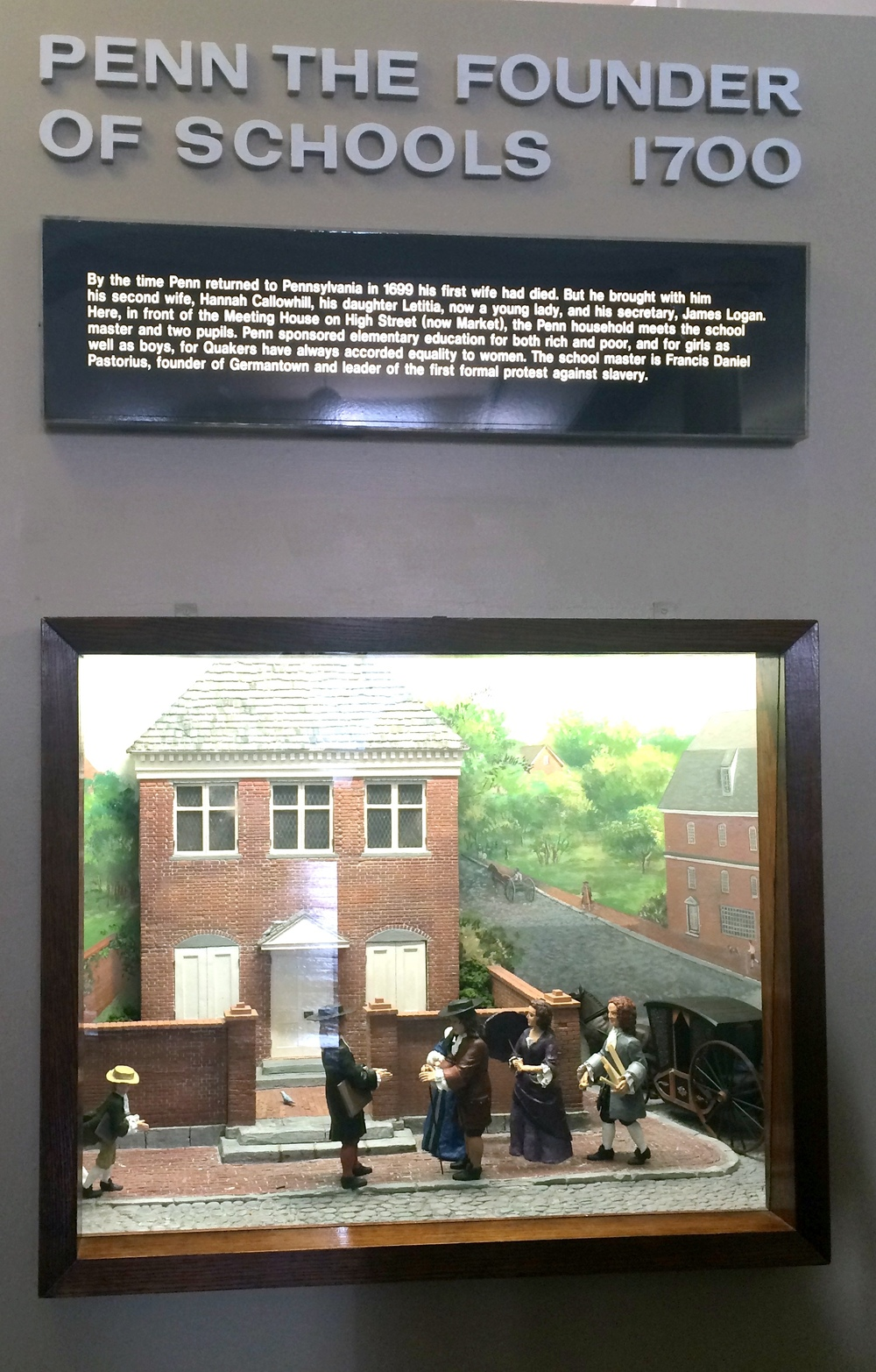 One of a series of dioramas depicting events in William Penn's life and his contributions to the new colony of Pennsylvania