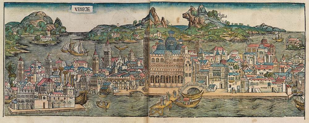 Figure 8a: Venice from the Nuremberg Chronicle, hand-colored woodcut, 1493, folios 43 verso - 44 recto