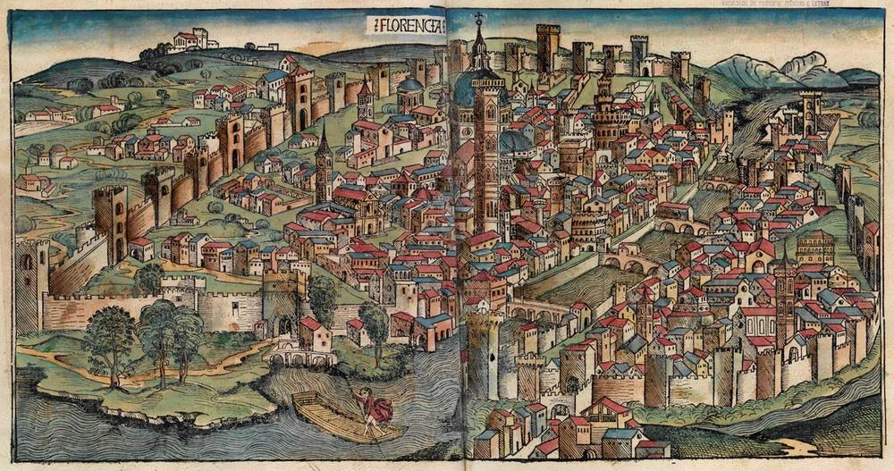 Figure 8d: Florence from the Nuremberg Chronicle, hand-colored woodcut, 1493, folios 86 verso - 87 recto