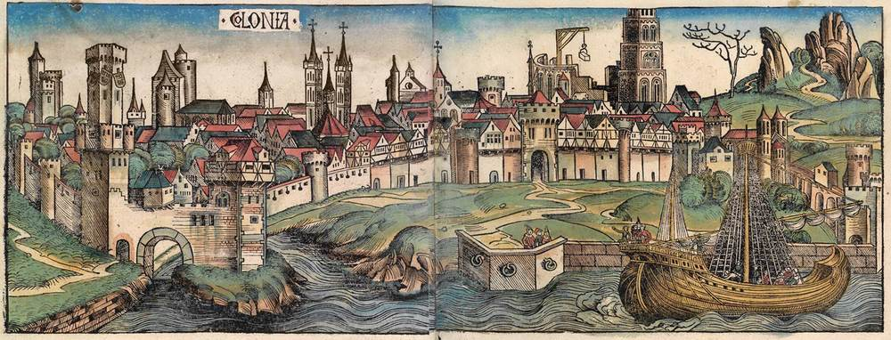 Figure 8e: Cologne from the Nuremberg Chronicle, hand-colored woodcut, 1493, folios 90 verso - 91 recto