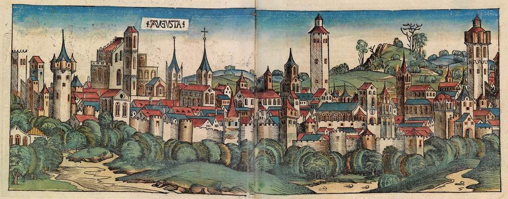 Figure 8f: Augsburg from the Nuremberg Chronicle, hand-colored woodcut, 1493, folios 91 verso - 92 recto