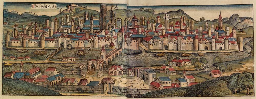 Figure 8g: Regensburg from the Nuremberg Chronicle, hand-colored woodcut, 1493, folios 97 verso - 98 recto