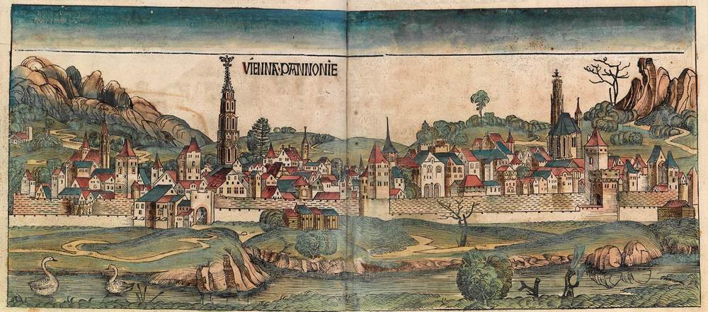 Figure 8h: Vienna from the Nuremberg Chronicle, hand-colored woodcut, 1493, folios 98 verso - 99 recto