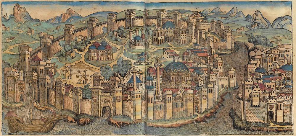 Figure 8j: Constantinople from the Nuremberg Chronicle, hand-colored woodcut, 1493, folios 129 verso - 130 recto