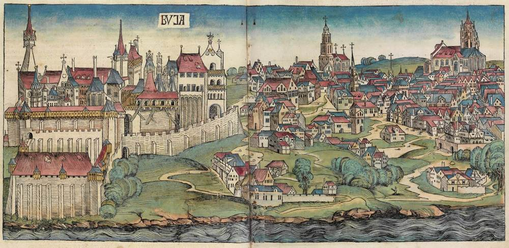 Figure 8k: Budapest from the Nuremberg Chronicle, hand-colored woodcut, 1493, folios 138 verso - 139 recto