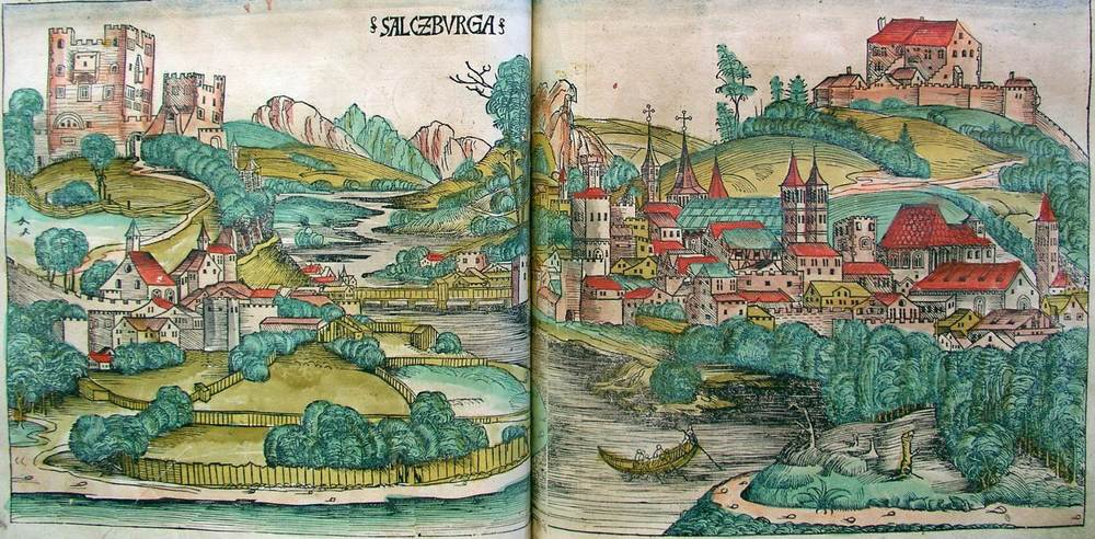 Figure 8m: Salzburg from the Nuremberg Chronicle, hand-colored woodcut, 1493, folios  verso -  recto