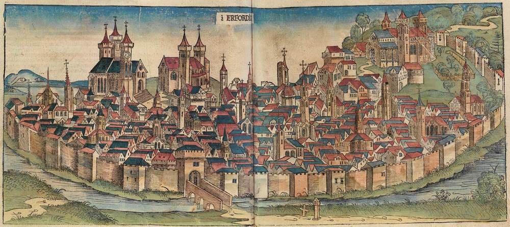 Figure 8n: Erfurt from the Nuremberg Chronicle, hand-colored woodcut, 1493, folios 155 verso - 156 recto