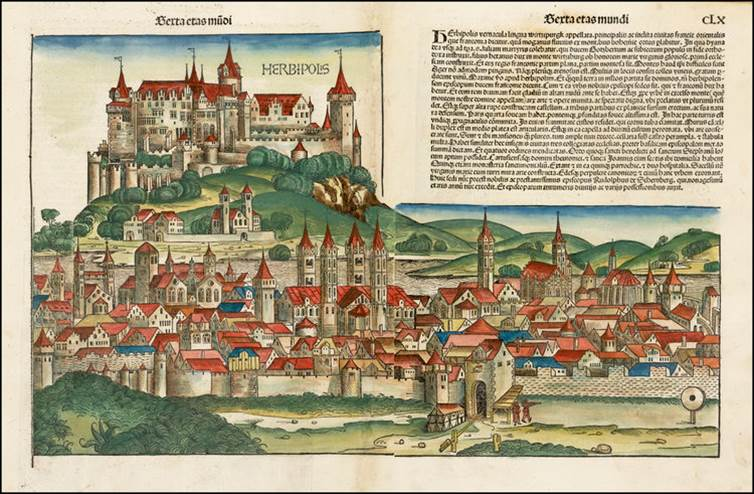 Figure 8o: Würzburg from the Nuremberg Chronicle, hand-colored woodcut, 1493, folios 159 verso - 160 recto