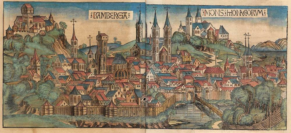 Figure 8p: Bamberg from the Nuremberg Chronicle, hand-colored woodcut, 1493, folios 174 verso - 175 recto