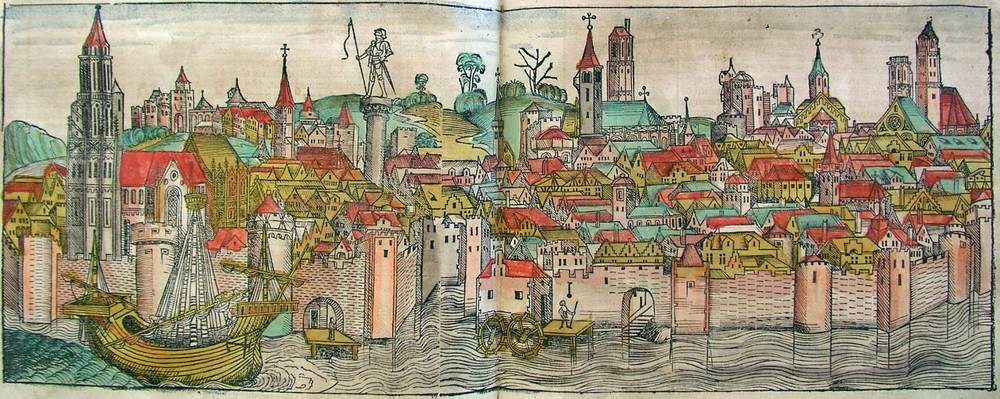 Figure 8q: Magdeburg from the Nuremberg Chronicle, hand-colored woodcut, 1493, folios 179 verso - 180 recto