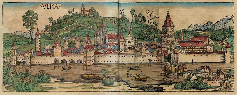 Figure 8r: Ulm from the Nuremberg Chronicle, hand-colored woodcut, 1493, folios 190 verso - 191 recto