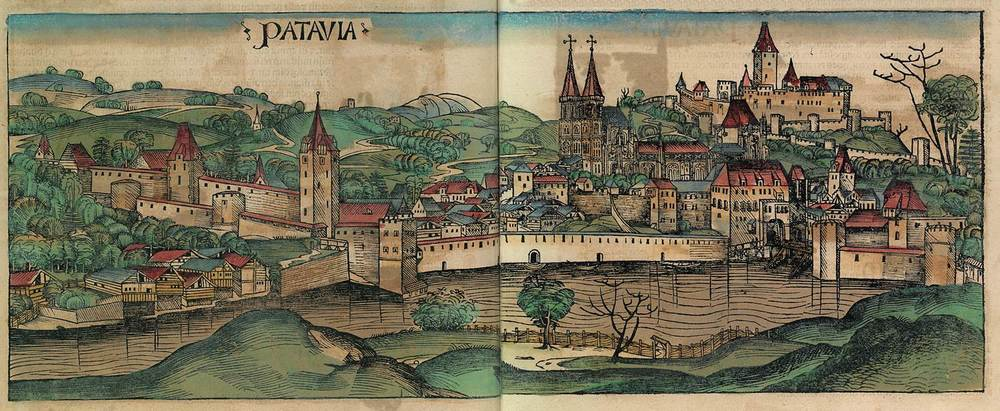 Figure 8s: Passau from the Nuremberg Chronicle, hand-colored woodcut, 1493, folios 199 verso - 200 recto