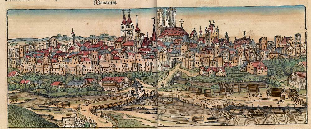 Figure 8t: Munich from the Nuremberg Chronicle, hand-colored woodcut, 1493, folios 225 verso - 226 recto