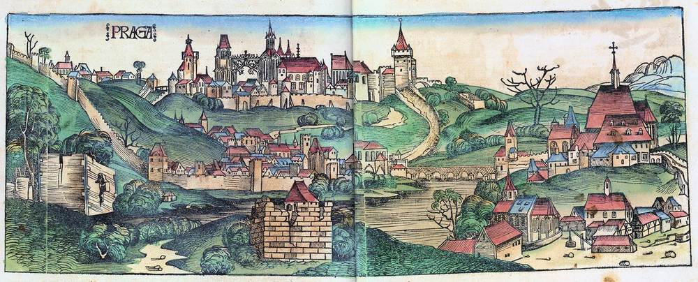 Figure 8u: Prague from the Nuremberg Chronicle, hand-colored woodcut, 1493, folios 229 verso - 230 recto