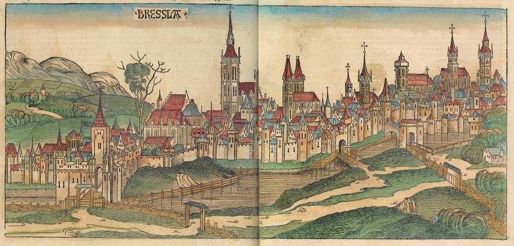 Figure 8v: Breslau from the Nuremberg Chronicle, hand-colored woodcut, 1493, folios 233 verso - 234 recto