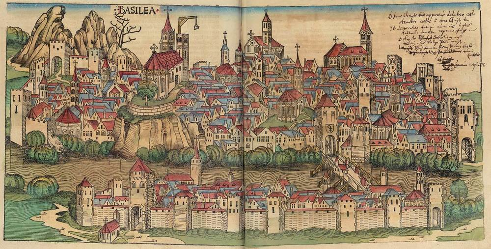 Figure 8x: Basel from the Nuremberg Chronicle, hand-colored woodcut, 1493, folios 243 verso - 244 recto