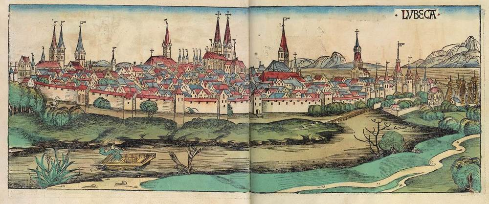 Figure 8z: Lübeck from the Nuremberg Chronicle, hand-colored woodcut, 1493, folios 270 verso - 271 recto