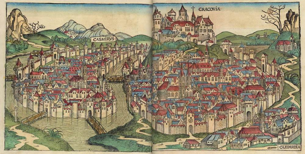 Figure 8y: Cracow from the Nuremberg Chronicle, hand-colored woodcut, 1493, folios 269 verso - 270 recto