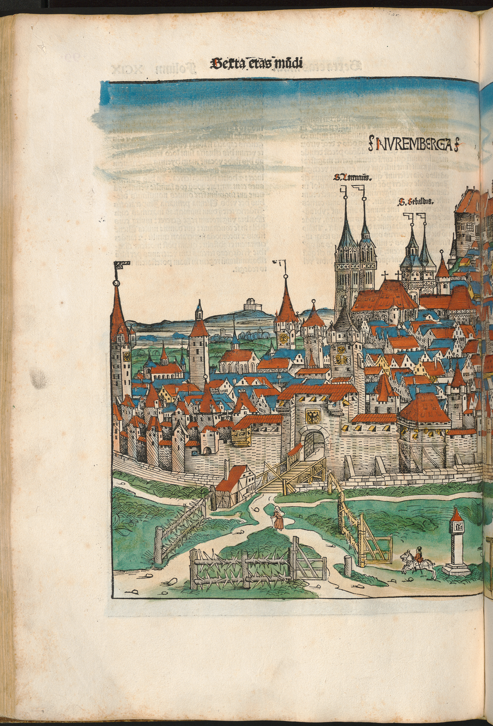 Figure 2a: Nuremberg cityscape from the Nuremberg Chronicle, hand-colored woodcut, 1493, folio 99 verso