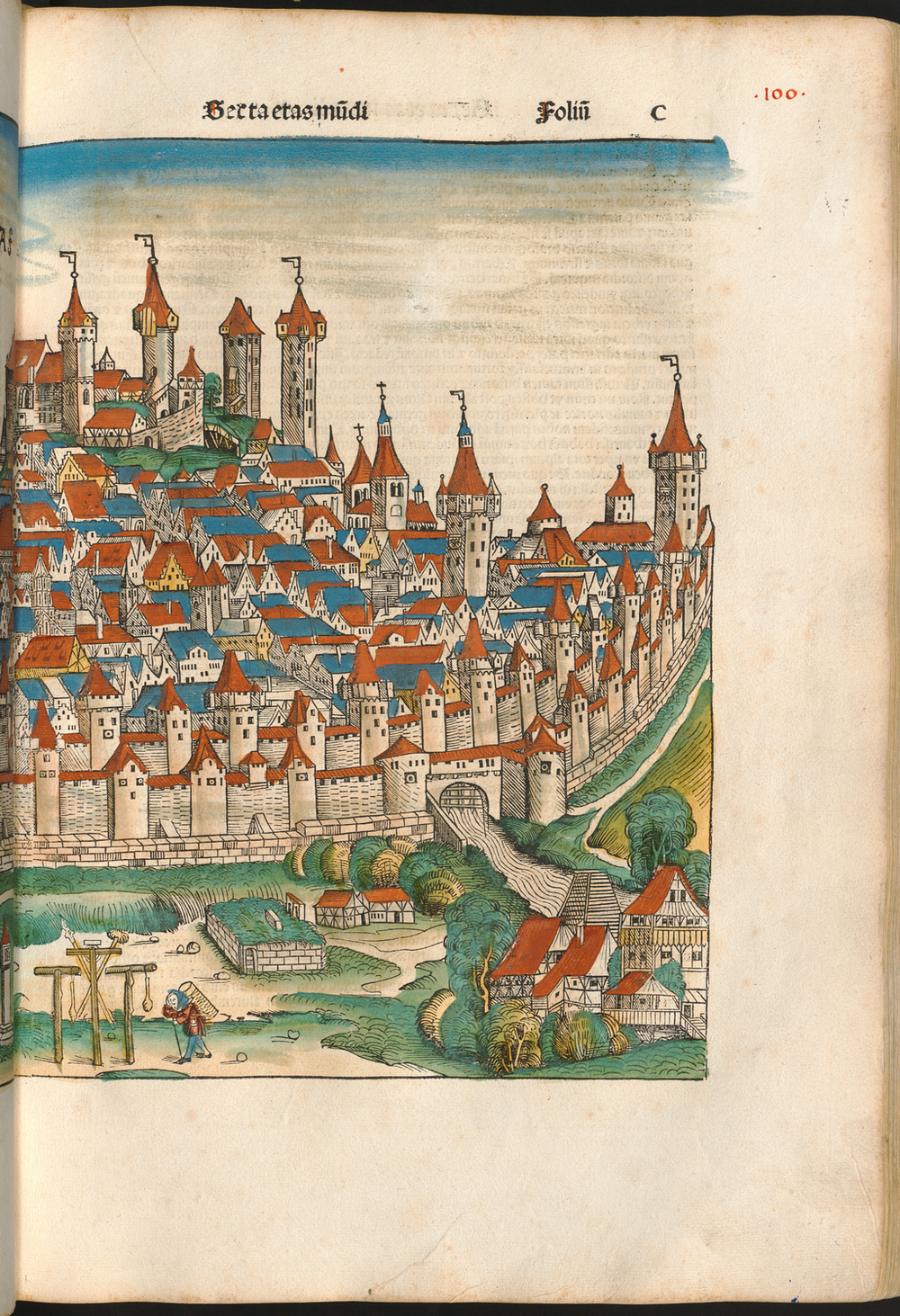 Figure 2b: Nuremberg cityscape from the Nuremberg Chronicle, hand-colored woodcut, 1493, folio 100 recto