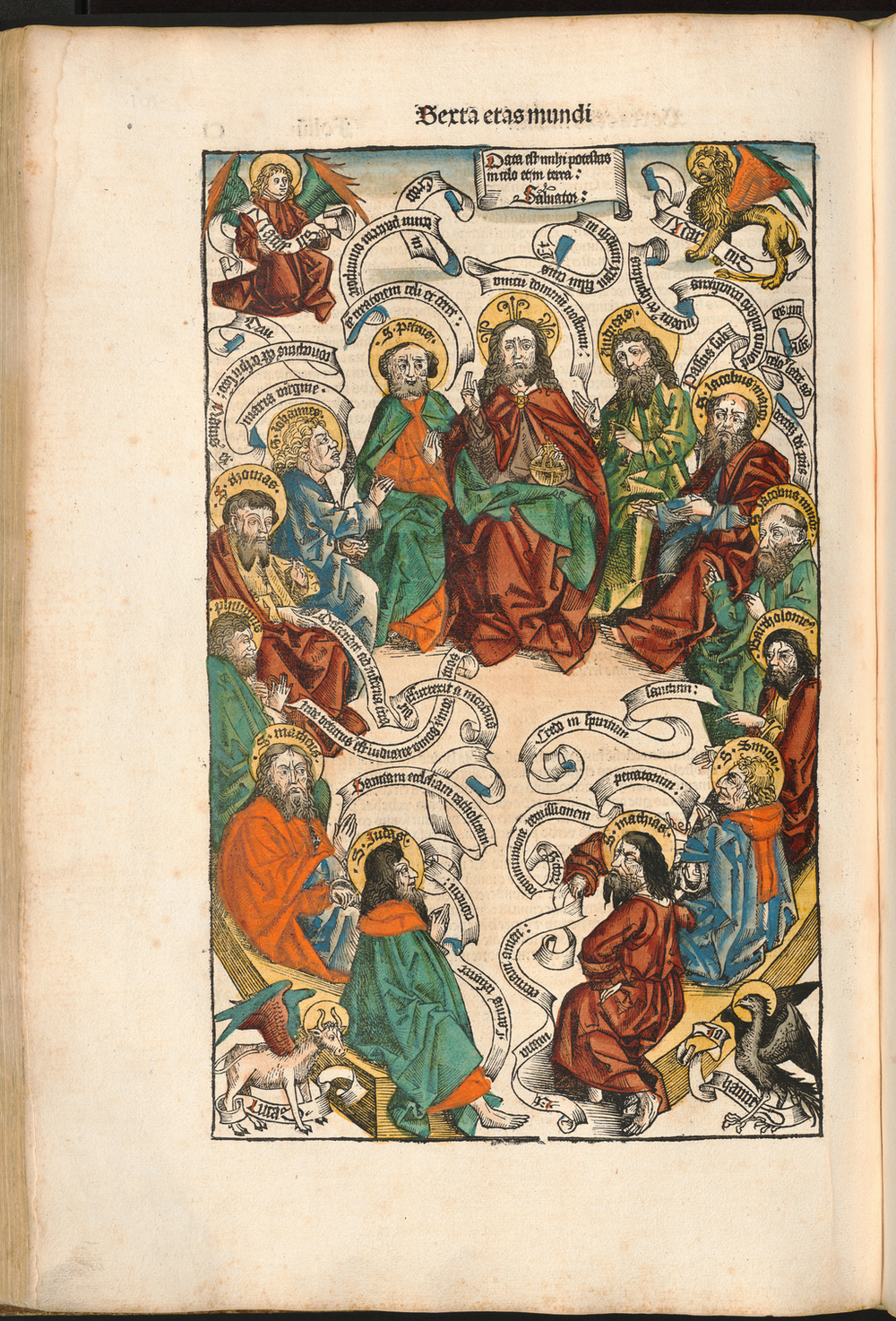 Figure 5: Christ and the Apostles from the Nuremberg Chronicle, hand-colored woodcut, 1493, folio 101 verso