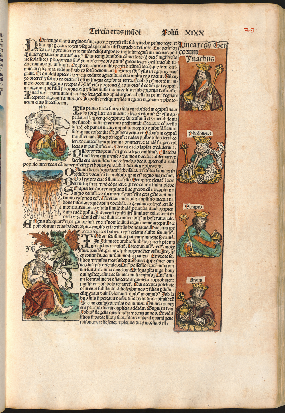 Figure 4: Page with Job and Kings from the Nuremberg Chronicle, hand-colored woodcut, 1493, folio 29 recto