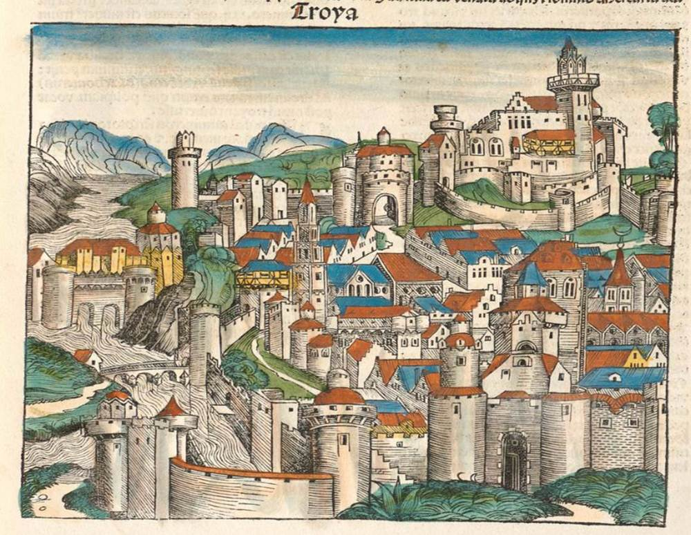 Figure 6a: Troy from the Nuremberg Chronicle, hand-colored woodcut, 1493, folio 36 recto