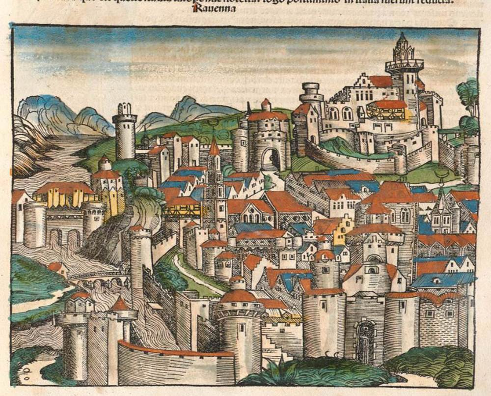 Figure 6e: Ravenna from the Nuremberg Chronicle, hand-colored woodcut, 1493, folio 142 recto