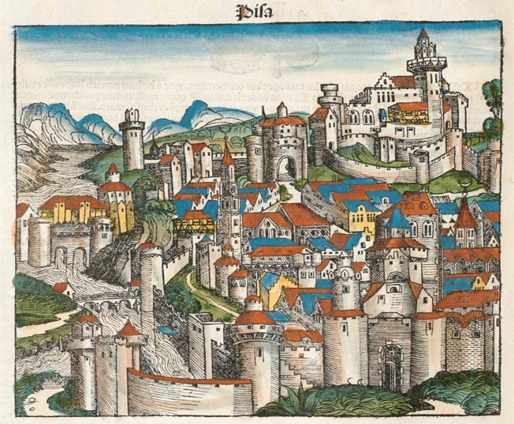 Figure 6b: Pisa from the Nuremberg Chronicle, hand-colored woodcut, 1493, folio 45 verso