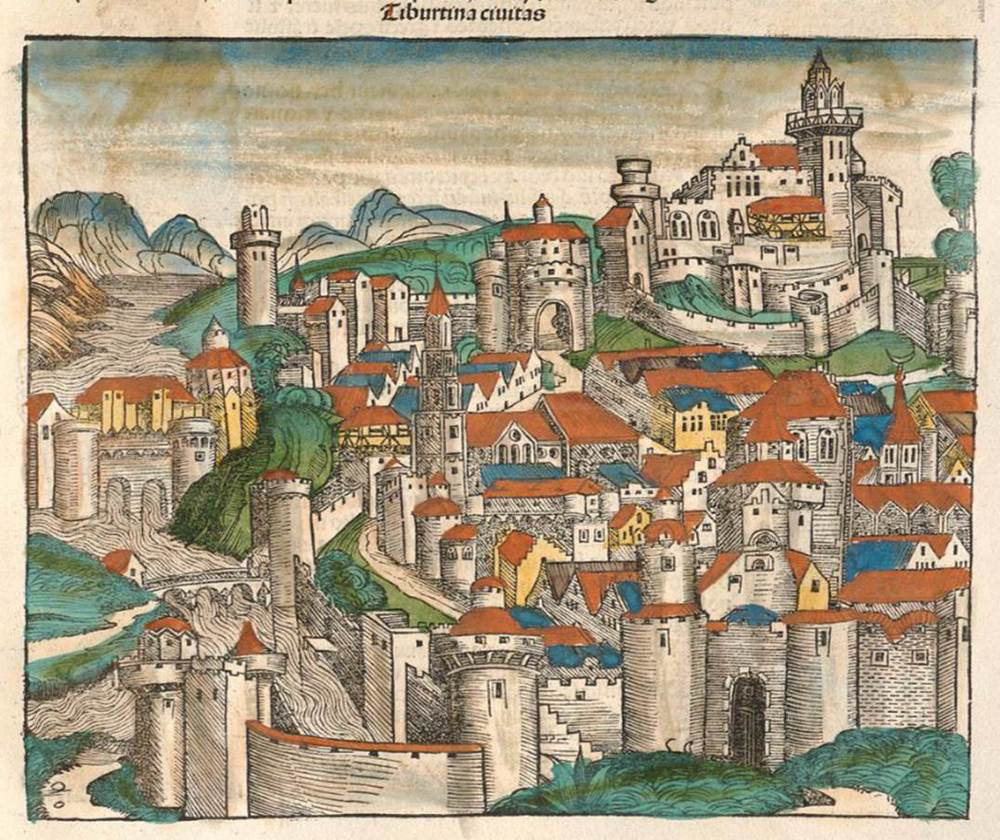 Figure 6d: Tivoli from the Nuremberg Chronicle, hand-colored woodcut, 1493, folio 113 recto