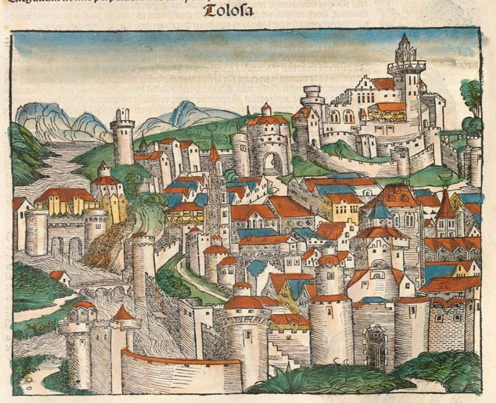 Figure 6c: Toulouse from the Nuremberg Chronicle, hand-colored woodcut, 1493, folio 71 verso