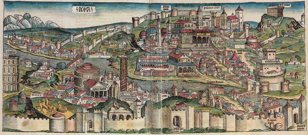 Figure 7: Rome cityscape from the Nuremberg Chronicle, hand-colored woodcut, 1493, folio 57 verso - 58 recto