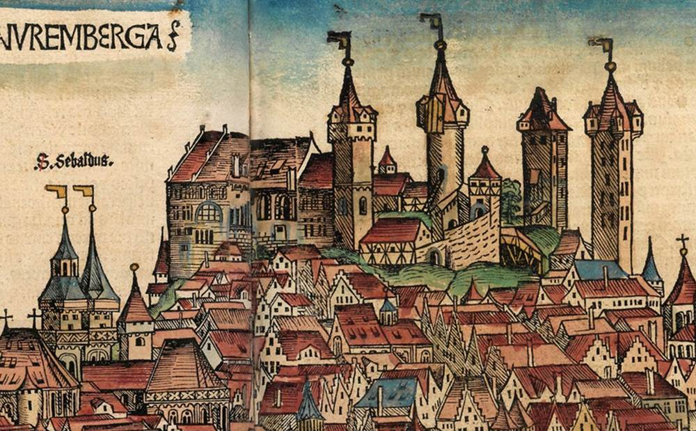 Figure 9b: Detail of Nuremberg's Castle, Nuremberg cityscape from the Nuremberg Chronicle, hand-colored woodcut, 1493, folios 99 verso - 100 recto