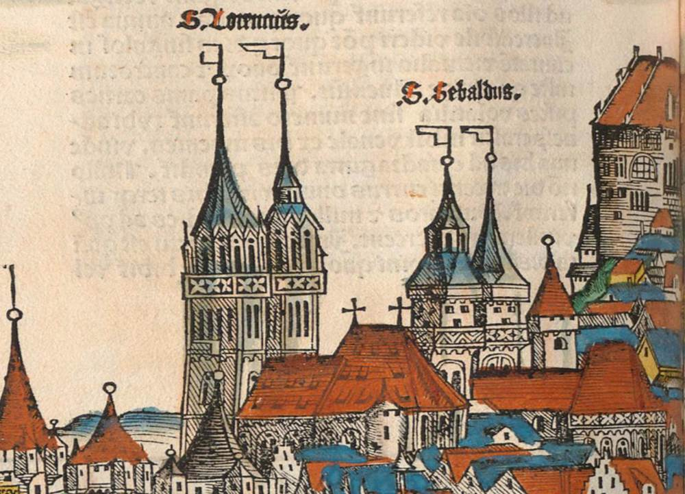 Figure 10b: Detail of St. Lorenz Church and St. Sebaldus Church, Nuremberg cityscape from the Nuremberg Chronicle, hand-colored woodcut, 1493, folio 99 verso