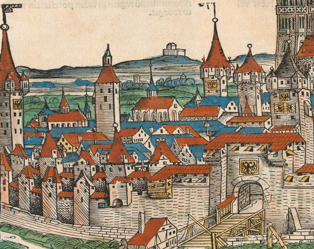 Figure 11: Detail of Frauentor and Imperial Insignia, Nuremberg cityscape from the  Nuremberg Chronicle , hand-colored woodcut, 1493, folio 99 verso