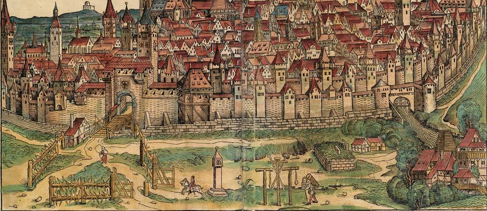 Figure 12: Detail of Foreground, Nuremberg cityscape from the Nuremberg Chronicle, 1493, folios 99 verso and 100 recto