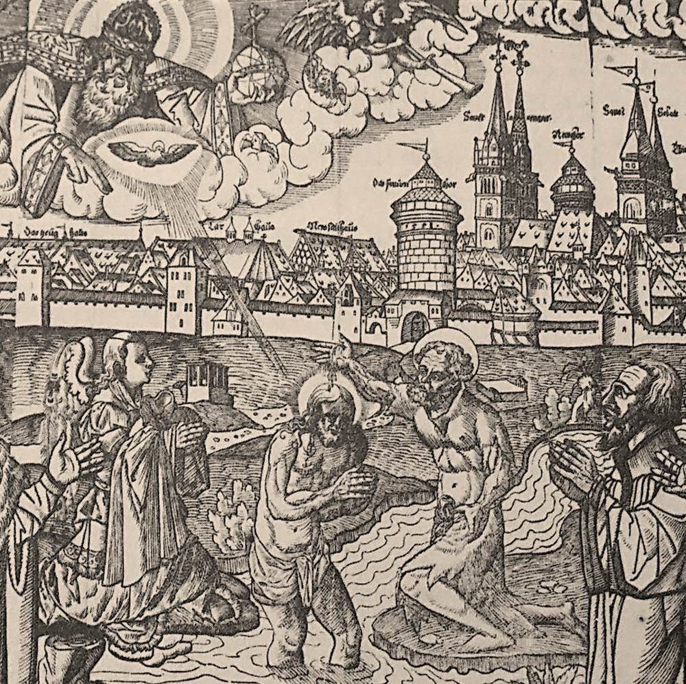 Figure 24: Anonymous (Cranach School), Detail from  Allegory of the Reformation in Nuremberg , woodcut, 1559
