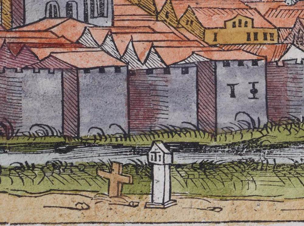 Figure 21a: Detail of Wayside Crosses, Erfurt cityscape from the Nuremberg Chronicle, hand-colored woodcut, 1493, folio 156 recto