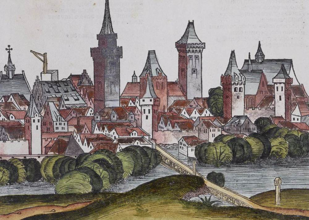 Figure 21c: Detail of Wayside Cross, Neisse cityscape from the Nuremberg Chronicle, hand-colored woodcut, 1493, folio 272 recto
