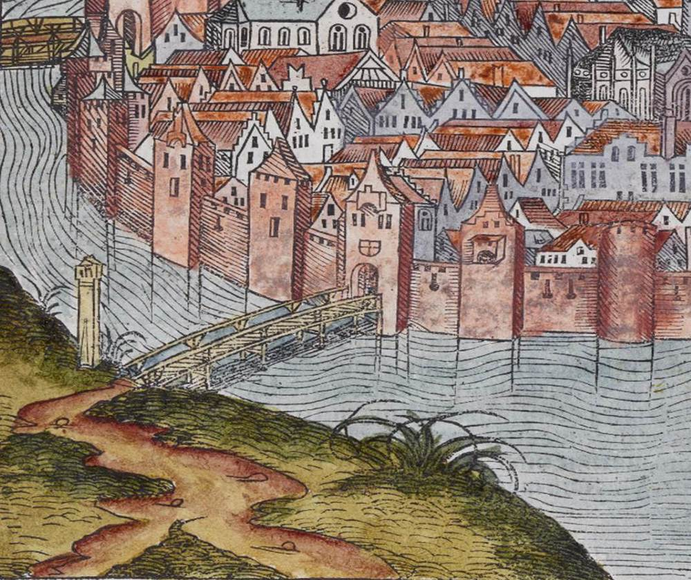 Figure 21b: Detail of Wayside Cross, Cracow cityscape from the Nuremberg Chronicle, hand-colored woodcut, 1493, folio 269 verso