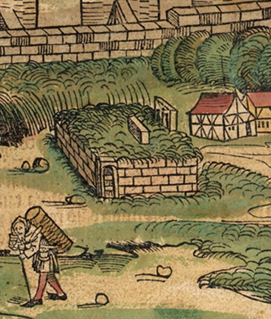 Figure 22: Detail of Ravens' Stone, Nuremberg cityscape from the Nuremberg Chronicle, hand-colored woodcut, 1493, folio 100 recto